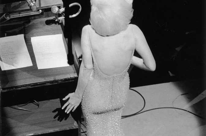 Marilyn Monroe singing Happy Birthday to President John F Kennedy from the stage at Madison Square Garden, three months before her death, 1962